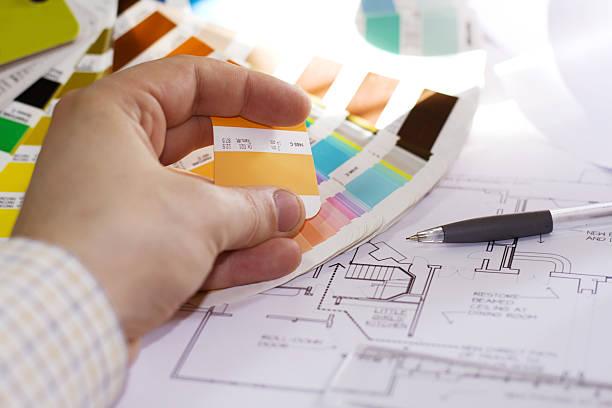 house painter - lila, grün, schlafzimmer stock-fotos und bilder
