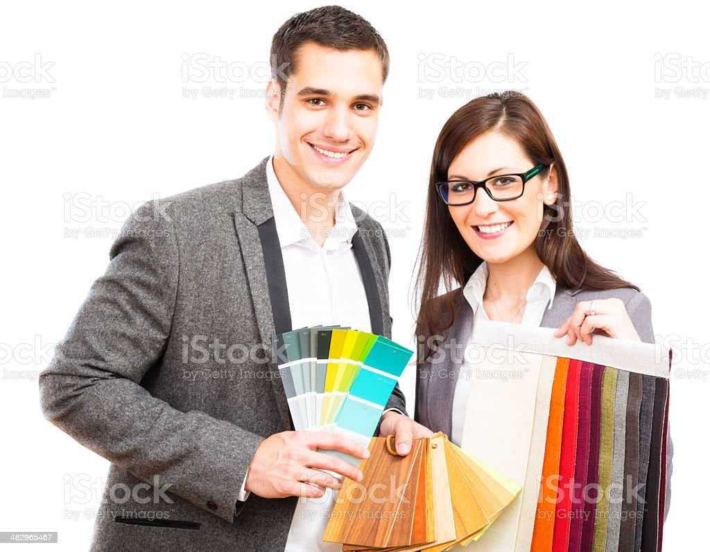interior designer team, holding fabric and color swatches royalty-free stock photo