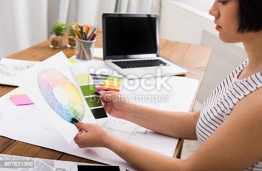 istock Interior designer working with palette 857831366