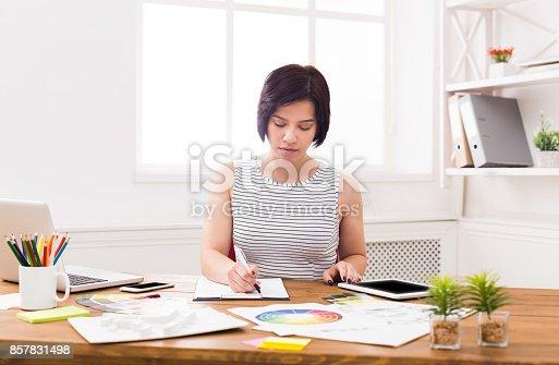 istock Interior designer working with palette 857831498