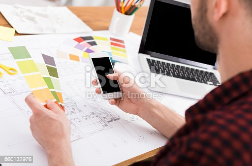 istock Interior designer working with palette 860132976