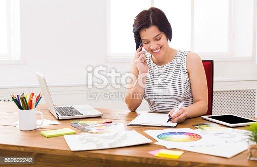 istock Interior designer working with palette 862622242