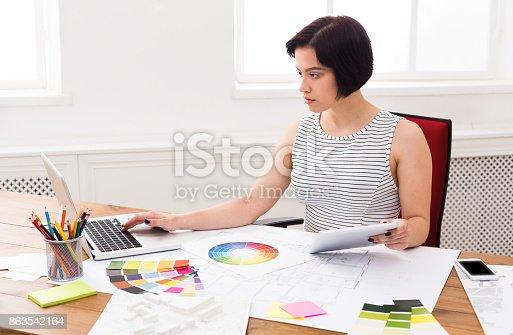 istock Interior designer working with palette 863542164