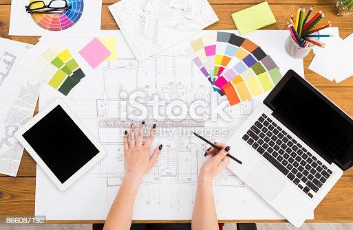 istock Interior designer working with palette top view 866087192