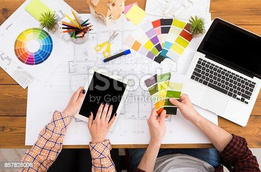 istock Interior designers teamwork with pantone swatch 857828008
