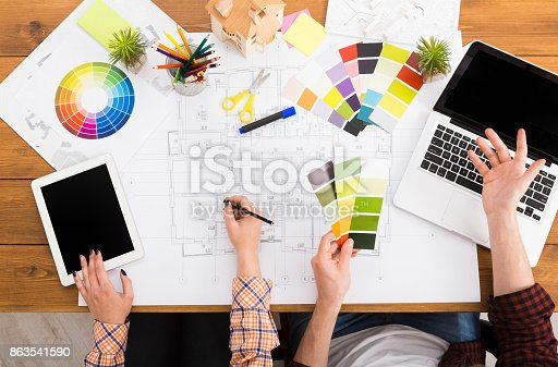 istock Interior designers teamwork with pantone swatch 863541590