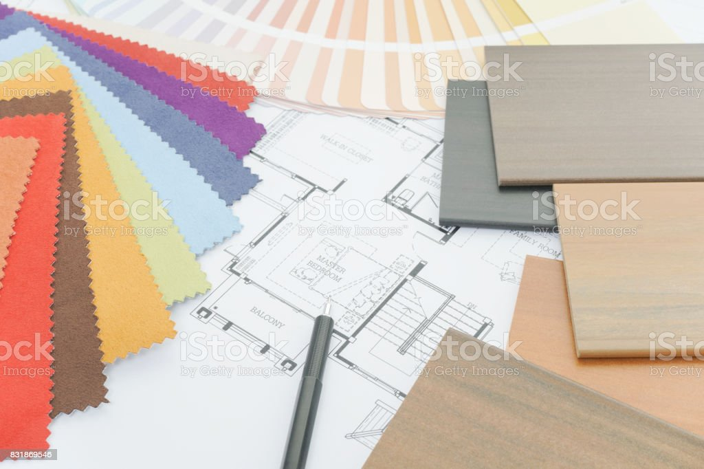 Interior designer's working table with sample of material stock photo
