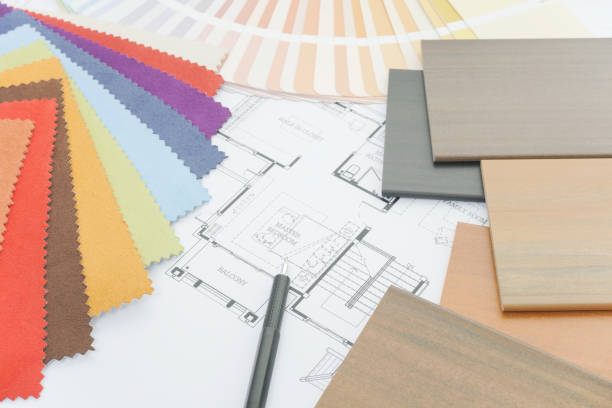 Interior designer's working table with sample of material Interior designer's working table with sample of material interior designer stock pictures, royalty-free photos & images
