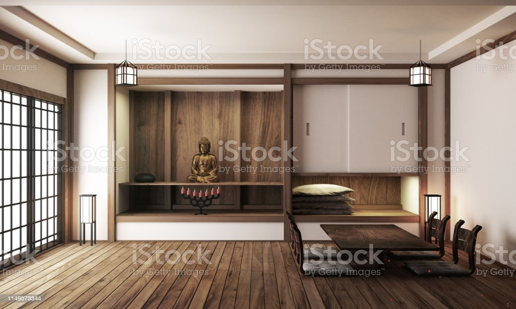 Interior Designjapanese Living Room Family Very Luxury3d Rendering Stock  Photo - Download Image Now