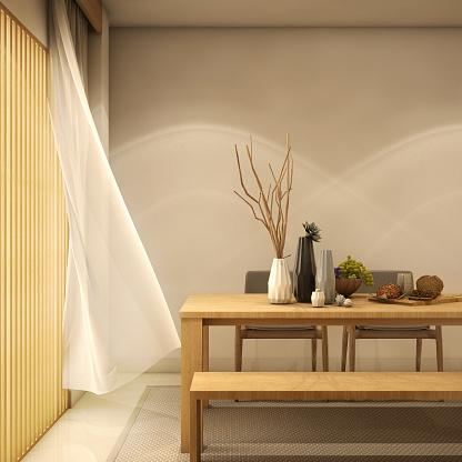 Design Salontafel Mat Wit.Interieur Design Moderne Woonkamer En Eethoek Met Tafel Houten Vloer