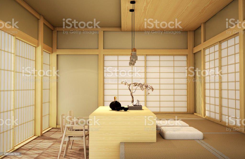 Interior Designmodern Living Room In Japanese Style Stock Photo