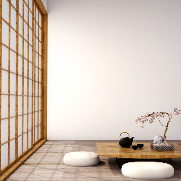 interior design,modern living room in japanese style - japanese culture stock pictures, royalty-free photos & images