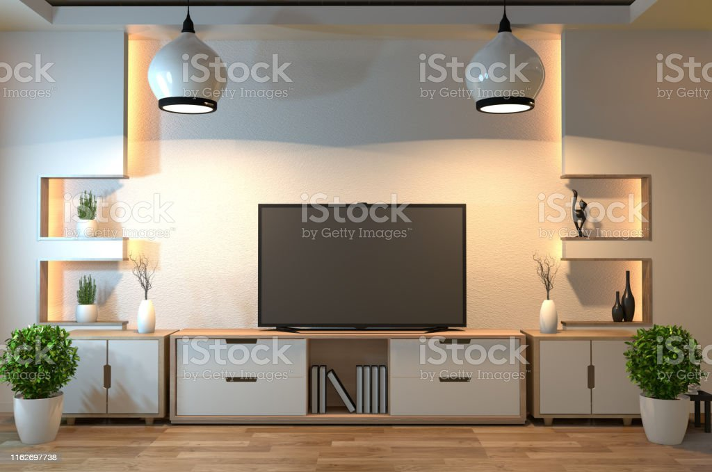 Interior Designmodern Living Room With Smart Tvtablelampwood Floor And White Wall Minimal Style3d Rendering Stock Photo Download Image Now Istock