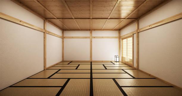 インテリアデザイン、モダンなリビングルーム畳と伝統的な日本のドアが最高のウィンドウビューに。3d レンダリング - 畳 ストックフォトと画像