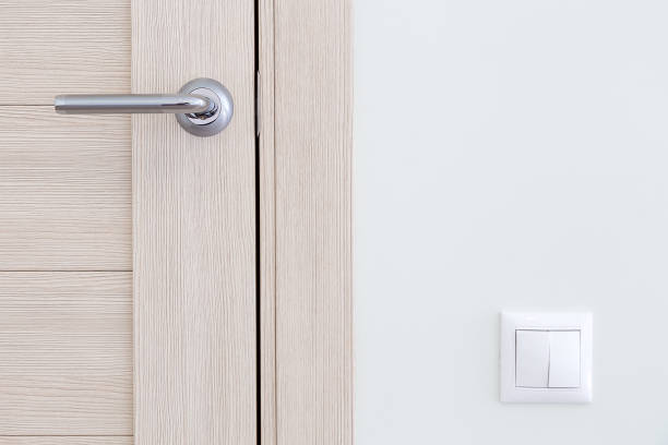 Interior detail. A door handle and a light switch