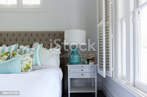 istock Interior details of a master bedroom bedside table 896492398