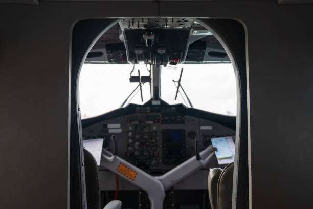 Interior details of airplane cockpit board control background. stock photo