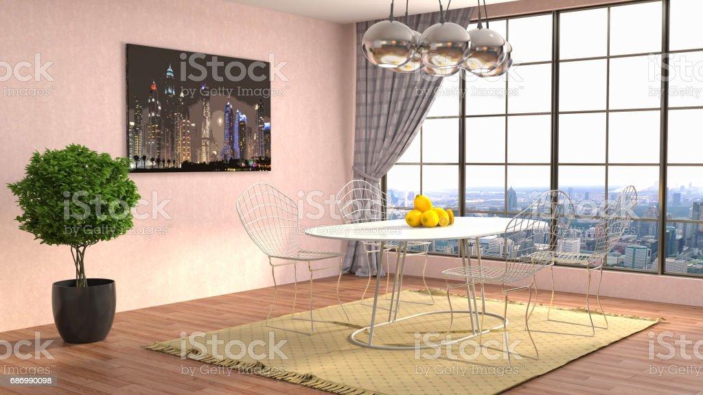 Innenansicht Essbereich. 3D-illustration Lizenzfreies stock-foto