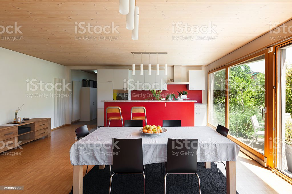 Interior, dining table and kitchen royalty-free stock photo
