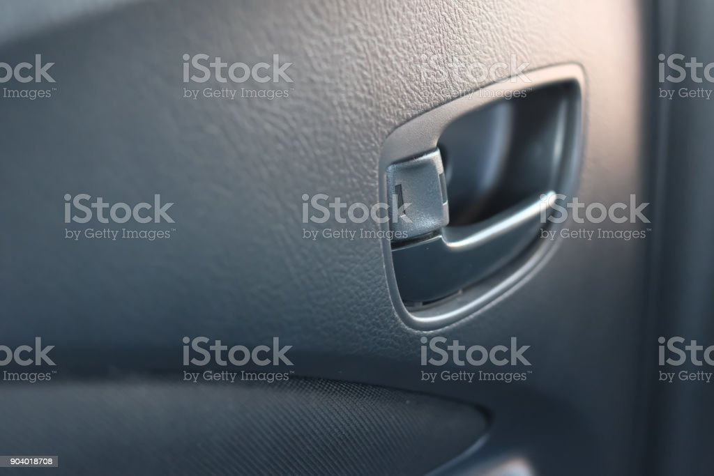 Interior door of the car with nature light. stock photo