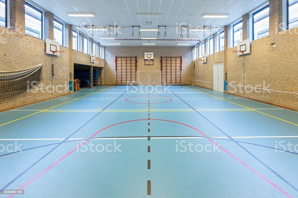 Interior dutch gymnasium for school sports stock photo
