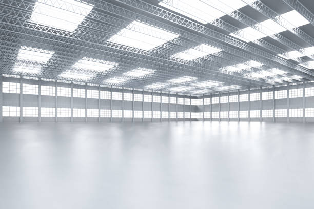 Interior empty factory 3d rendering interior white and clean empty factory or storehouse warehouse interior stock pictures, royalty-free photos & images