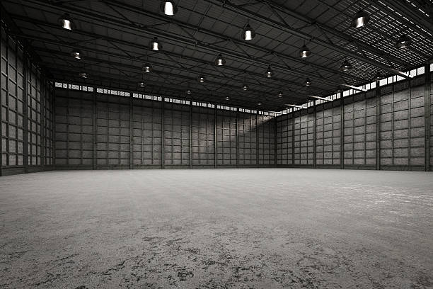 interior empty factory - cement floor stock photos and pictures