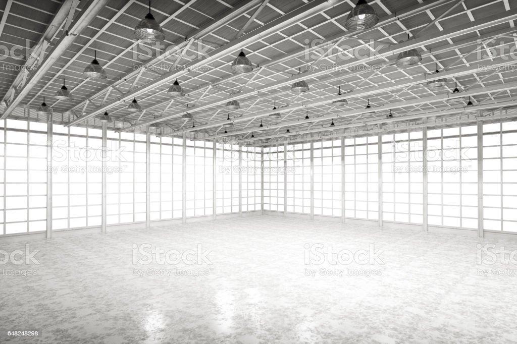 interior empty factory stock photo