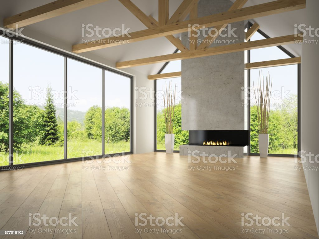 Interior empty room with rafters and fireplace 3D rendering 2 stock photo