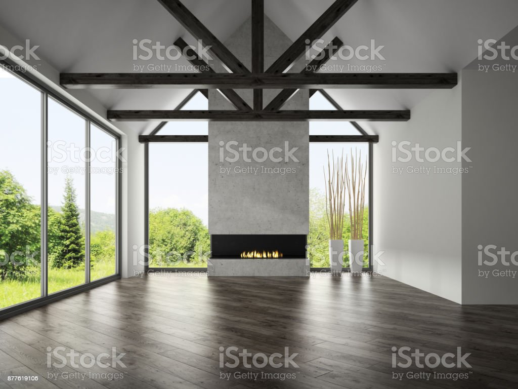 Interior empty room with rafters and fireplace 3D rendering 3 stock photo