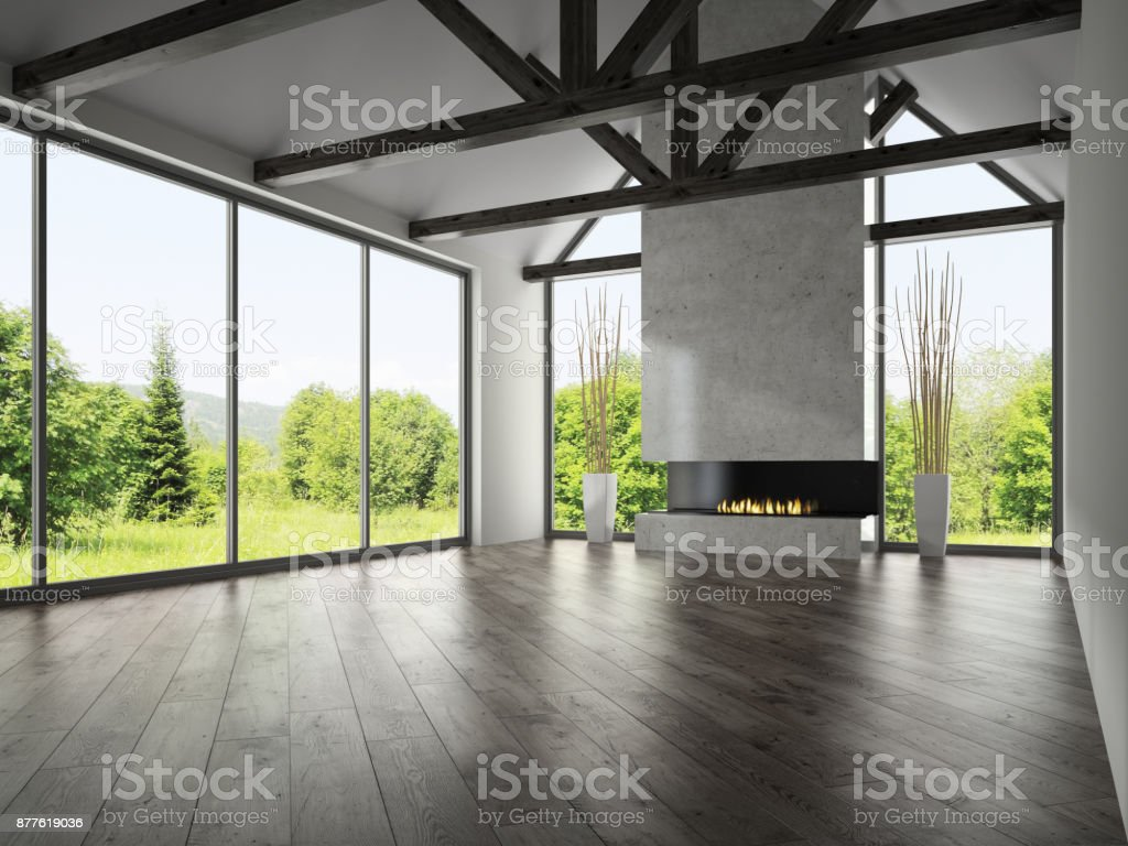 Interior empty room with rafters and fireplace 3D rendering 4 stock photo