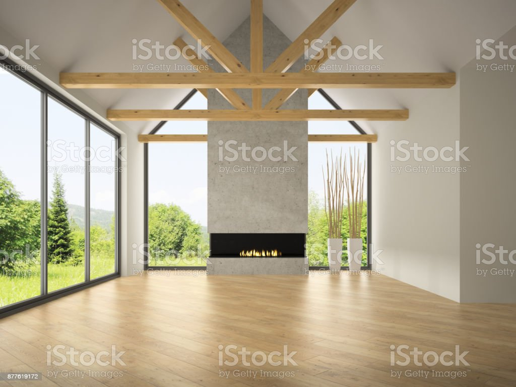 Interior empty room with rafters and fireplace 3D rendering stock photo