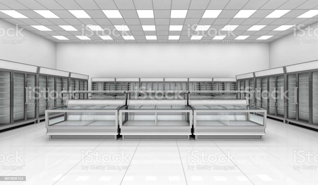 Interior empty supermarket with  showcases and freezer bonnet stock photo