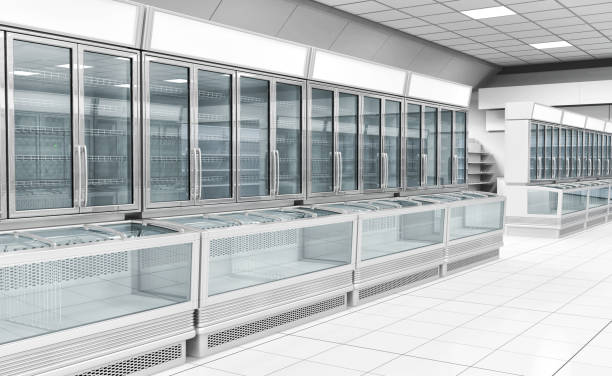 Interior empty supermarket with  showcases freezer Interior empty supermarket with  showcases freezer. 3d illustration consumerism stock pictures, royalty-free photos & images