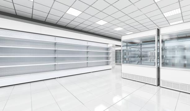 Interior empty supermarket with  showcases freezer stock photo