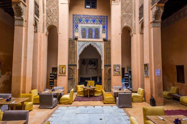 interior for riad or inner courtyard in medina of Marrakesh, Morocco stock photo