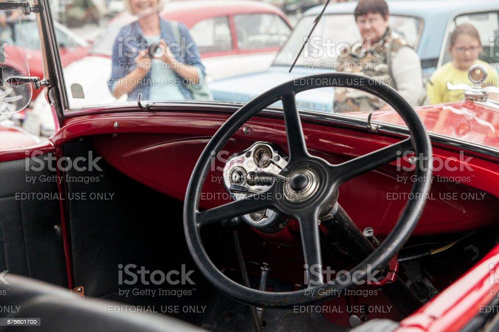 Interior Ford Inside View Retro Design Car Exhibition Of Vintage ...