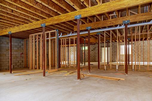 Interior frame of a new basement under construction