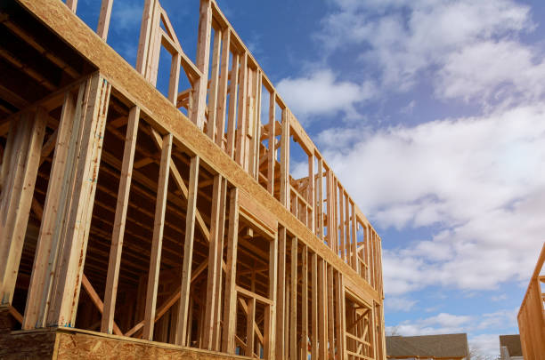 Interior framing beam of new house under construction home framing Interior framing beam of new house under construction home framing beam construction home ownership stock pictures, royalty-free photos & images