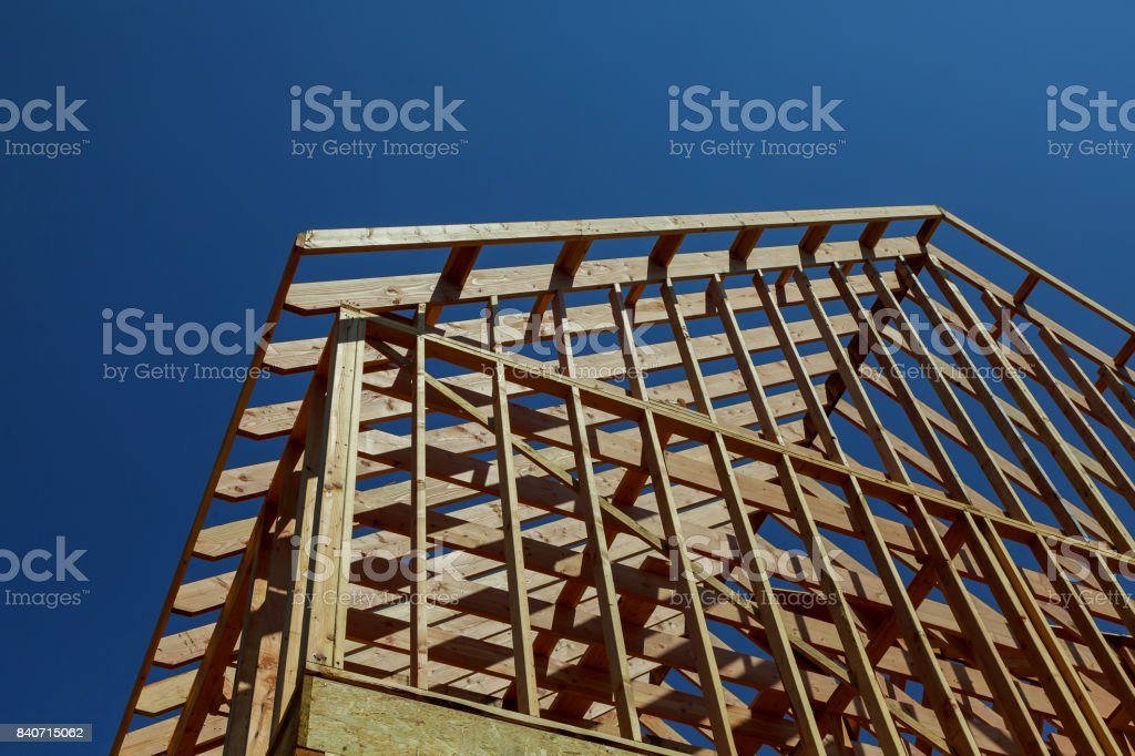 Interior framing new house under construction stock photo