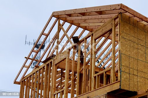 534196421 istock photo Interior framing of a new house under construction 951381608