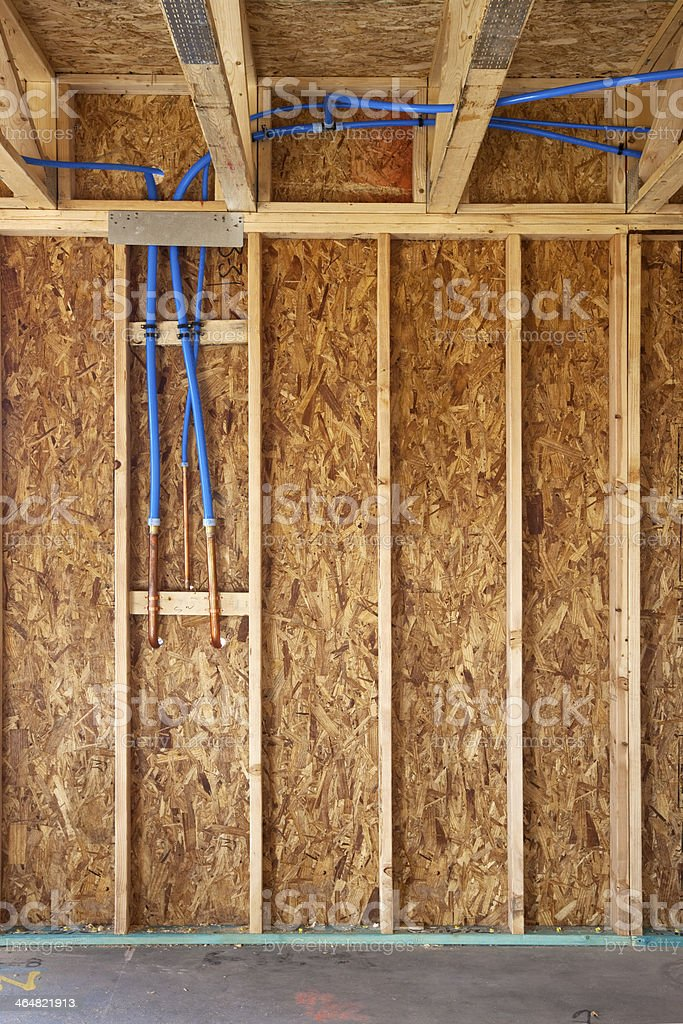 Interior Framing with Plumbing in the Wall stock photo