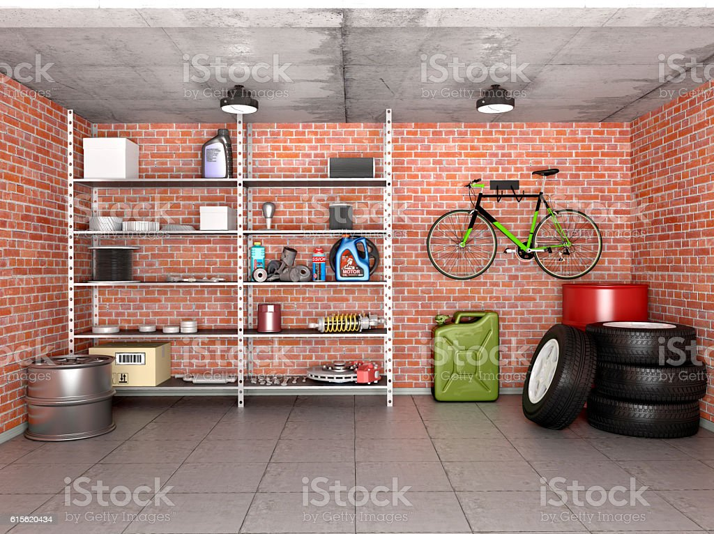 Interior garage with tools, equipment and wheels. 3d illustration. stock photo
