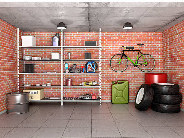 interior garage with tools, equipment and wheels. 3d illustration. - garagiste photos et images de collection
