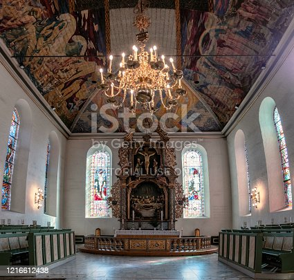 Oslo, Norway - Mar 27 2018 : Interior glowing of Oslo Cathedral, Oslo Domkirke, Formerly our Savior's church is the main church of Norway