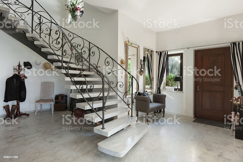 Interior, hall with staircase stock photo