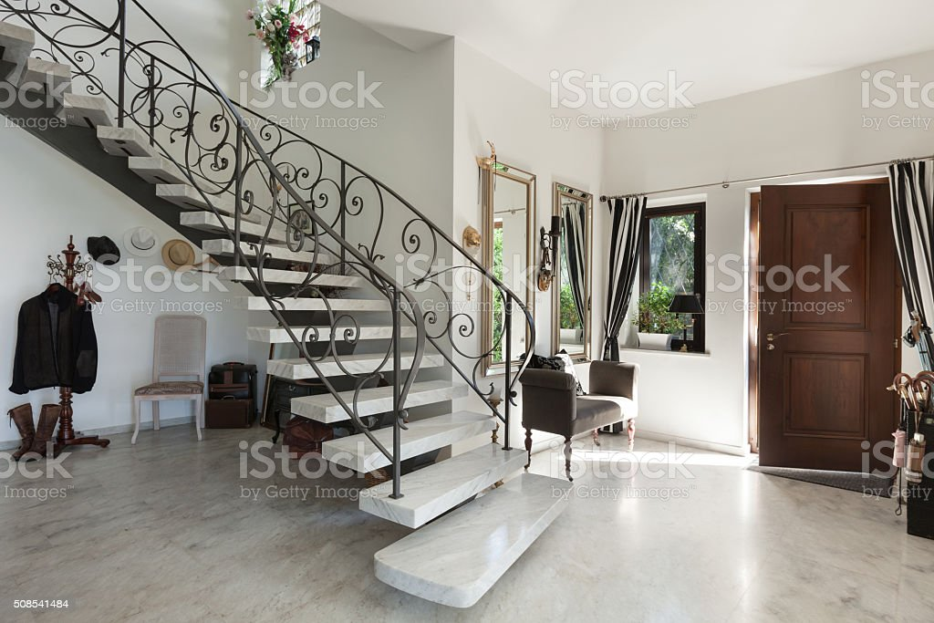 Interior hall with staircase stock photo more pictures for Apartment entrance decoration