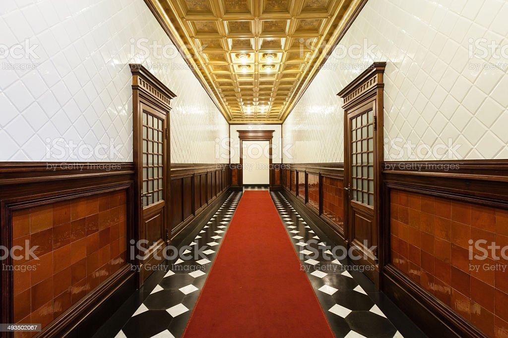 Interior, hallway of an old palace stock photo