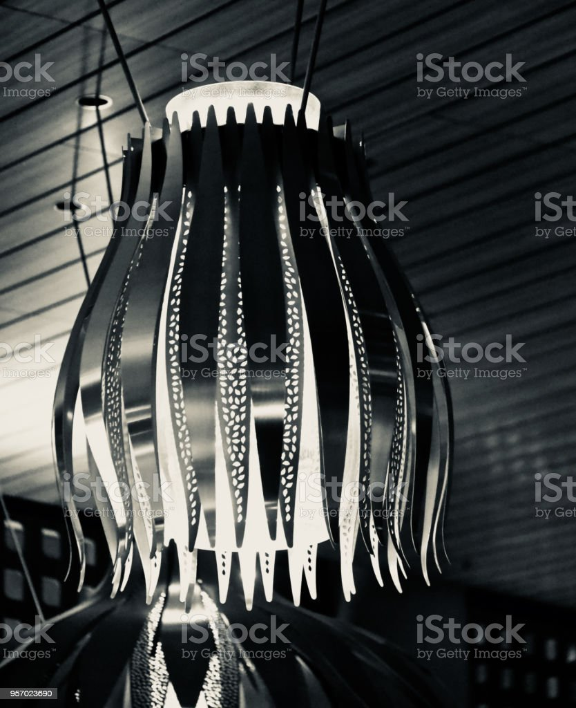 Interior hanging lights isolated object unique photo stock photo