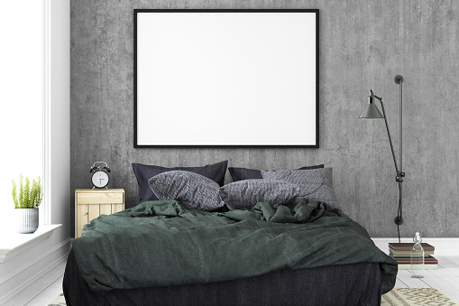 Interior hipster blank picture poster frame template.
